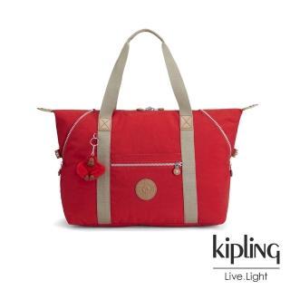 【KIPLING】櫻桃紅撞色手提包-大(ART M)