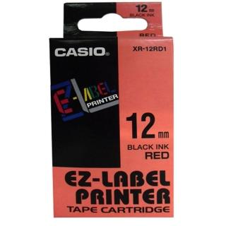 【CASIO 卡西歐】標籤機專用色帶-12mm紅底黑字(XR-12RD1)