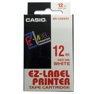 【CASIO 卡西歐】標籤機專用色帶-12mm白底紅字(XR-12WER1)