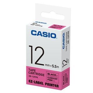 【CASIO 卡西歐】標籤機專用特殊色帶-12mm瑩光粉底黑字(XR-12FPK1)