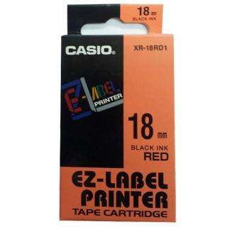 【CASIO 卡西歐】標籤機專用色帶-18mm紅底黑字(XR-18RD1)