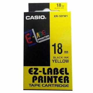 【CASIO 卡西歐】標籤機專用色帶-18mm黃底黑字(XR-18YW1)