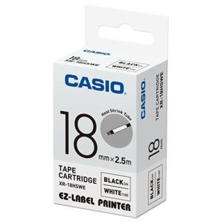 【CASIO 卡西歐】標籤機專用特殊色帶-18mm熱縮套管專用白底黑字(XR-18HSWE1)