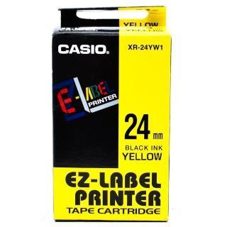 【CASIO 卡西歐】標籤機專用色帶-24mm黃底黑字(XR-24YW1)