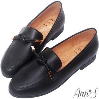 【Ann'S】知性文藝-雙結柔軟綿羊皮紳士平底鞋-版型偏大(黑)