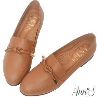 【Ann'S】知性文藝-雙結柔軟綿羊皮紳士平底鞋(棕)