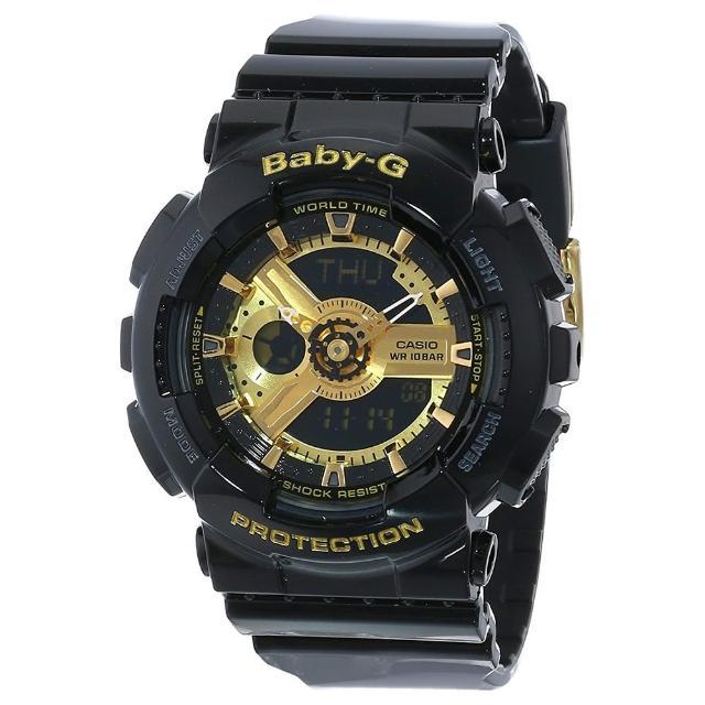 【CASIO 卡西歐】BABY-G系列 率性女孩小黑金雙顯電子錶(黑/金 BA-110-1A)