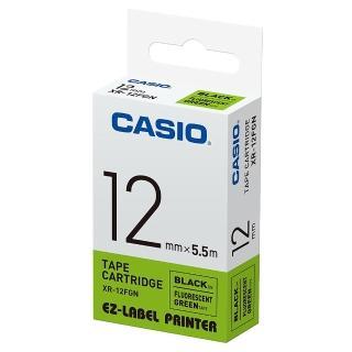 【CASIO 卡西歐】標籤機專用特殊色帶-12mm瑩光綠底黑字(XR-12FGN)