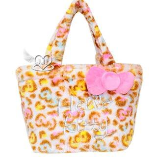 【TDL】HELLO KITTY豹紋絨毛手提袋手提包包 126332