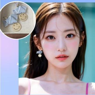 【梨花HaNA】韓國夏日清透蝴蝶結可愛笑臉耳環