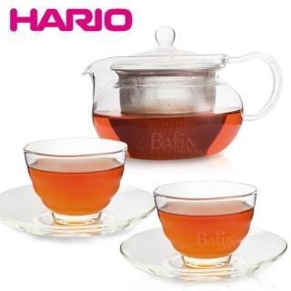 【HARIO】茶茶急須丸形茶壺禮盒組(1濾壺+2杯+2盤)