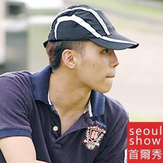 【Seoul Show首爾秀】條紋透氣網超輕量運動高爾夫GOLF戶外棒球帽 黑白灰(防曬遮陽)