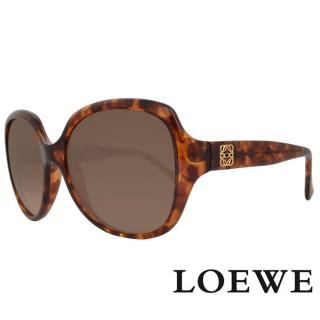 【LOEWE 羅威】西班牙皇室品牌羅威素面立體LOGO太陽眼鏡(琥珀 SLW775-0744 12HR)