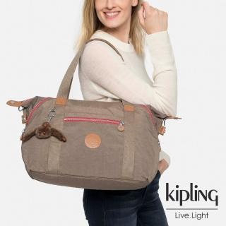 【KIPLING】復古卡其棕素面手提側背包--中(ART)