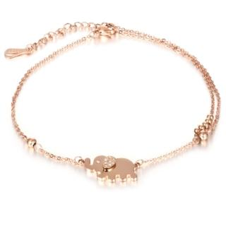 【I-Shine】西德鋼-吉祥大象-可愛小象鑲鑽玫瑰金鈦鋼腳鍊(玫瑰金)