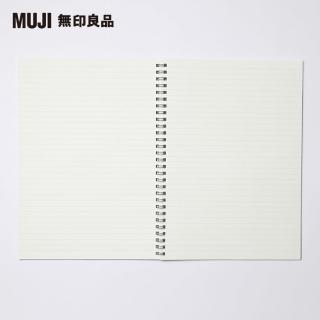【MUJI 無印良品】植林木不易透色雙環筆記本/橫線/48頁.B5.深灰