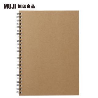 【MUJI 無印良品】植林木不易透色雙環筆記本/橫線/48頁.A5.米