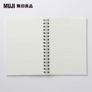 【MUJI 無印良品】植林木不易透色雙環筆記本/橫線/48頁.A6.米