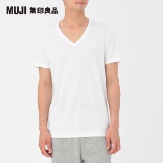 【MUJI 無印良品】男有機棉V領短袖衫/2入白色