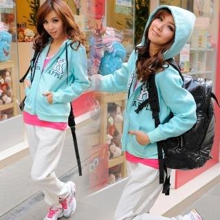 【Lady c.c.】電繡字母螢光休閒運動褲裝(藍綠)