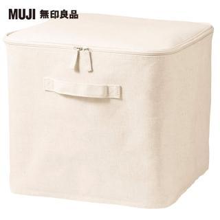 【MUJI 無印良品】棉麻聚酯收納箱/附蓋/L