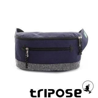 【tripose】微旅輕量岩紋配色防潑水斜揹包(藍)