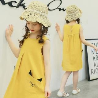 【小衣衫童裝】中大童可愛貓口袋傘狀背心裙(1070304)