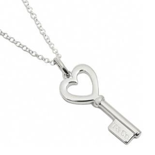 【Tiffany&Co. 蒂芙尼】Tiffany Keys愛心鑰匙純銀項鍊