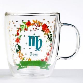 【Royal Duke】雙層玻璃咖啡杯/馬克杯/花茶杯-處女座(星座杯-380ml)