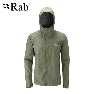 【英國 RAB】Downpour Jacket 高透氣連帽防水外套 男款 田野綠 #QWF61(高透氣連帽防水外套)