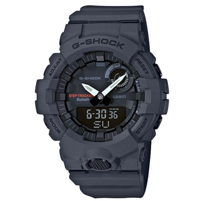 【CASIO 卡西歐】G-SHOCK 活力充沛計步藍芽雙顯錶-鐵灰(GBA-800-8A)