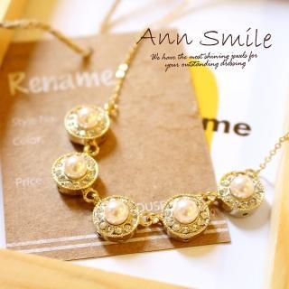 【微笑安安】韓製華麗風晶鑽珍珠圓墜項鍊