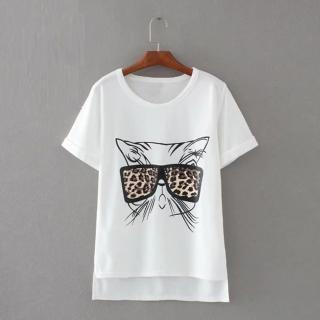 【茱莉歐美#JILLSTREET】小貓眼鏡不對稱短袖T恤-M/L(白)