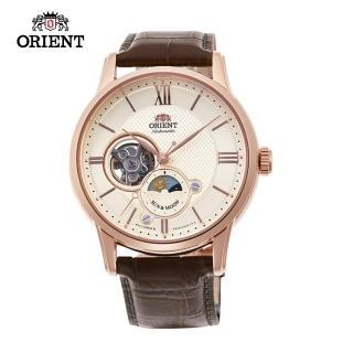 【ORIENT 東方錶】SUN&MOON系列 半露空日月相錶  皮帶款 玫瑰金色 42mm(RA-AS0003S)