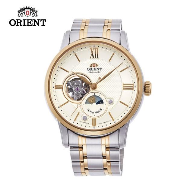 【ORIENT 東方錶】SUN&MOON系列 半露空日月相錶  鋼帶款 金色 42mm(RA-AS0001S)