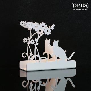 【OPUS 東齊金工】歐式鐵藝信件架/收納架/展示架/桌面收納(LE-ca02W 貓咪_優雅白)