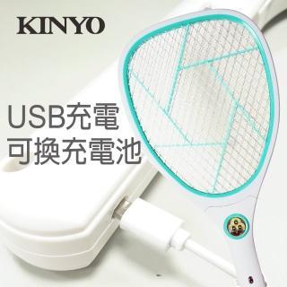 【KINYO】必buy登革熱防疫神器 鋰電池USB充電式照明電蚊拍(CM2233)