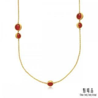 【Emphasis 點睛品】g* 系列 圓珠紅瑪瑙黃金項鍊(長鍊)