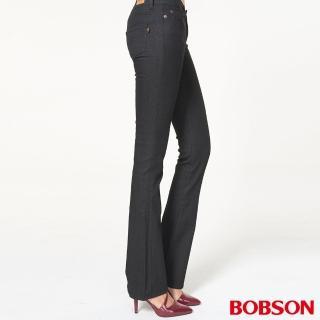【BOBSON】女款超低腰伸縮小喇叭褲(黑942-88)