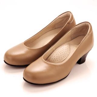 【GMS】MIT系列‧通勤必備全真皮素面小粗跟鞋(優雅米灰)
