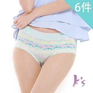 【K's 凱恩絲】專利蠶絲繽紛花漾「田園風系列」內褲(6件組)