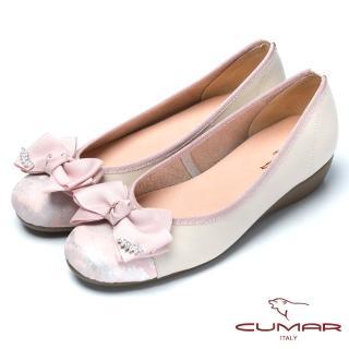 【CUMAR】舒適真皮緞帶蝴蝶結真皮舒適鞋(粉紅色)