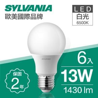 【SYLVANIA 飛樂喜萬年】13W LED 超亮廣角燈泡  白光6500K全電壓_6入(13W LED 超亮廣角燈泡  白光)