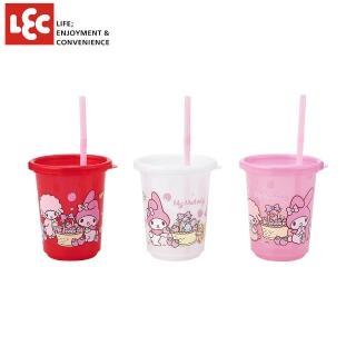 【LEC】Melody美樂蒂派對水杯3入附蓋&吸管(日本製三麗鷗授權可重複使用)