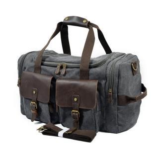 【米蘭精品】手提包瘋馬皮帆布包(歐美時尚大容量行李男女側背包包3色73nd44)