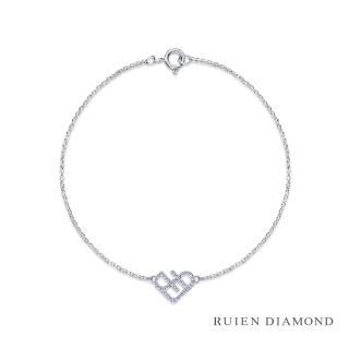 【RUIEN DIAMOND 瑞恩鑽石】輕珠寶系列 23分鑽石手鍊(14K白金 戀心)