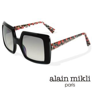 【alain mikli 法式巴黎】捌零復古藝術幾何棋盤格造型太陽眼鏡(紅黑 AL1309-A01B)