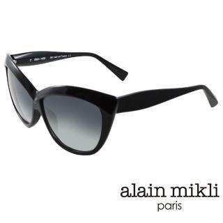 【alain mikli 法式巴黎】捌零復古藝術媚感貓眼造型太陽眼鏡(黑 AL1323-0101)