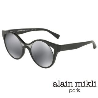 【alain mikli 法式巴黎】捌零復古藝術纏繞圓弧造型太陽眼鏡(黑 AL5033-001)