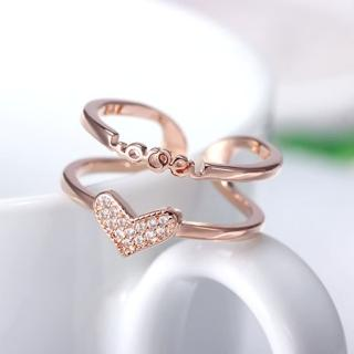 【Angel】璀璨星光LOVE雙環水鑽戒指(白金色玫瑰色)